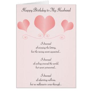Tarjeta Cumpleaños del marido de los corazones