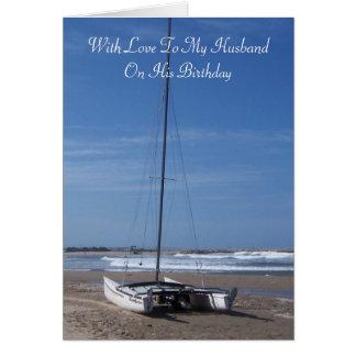 Tarjeta Cumpleaños del marido del catamarán