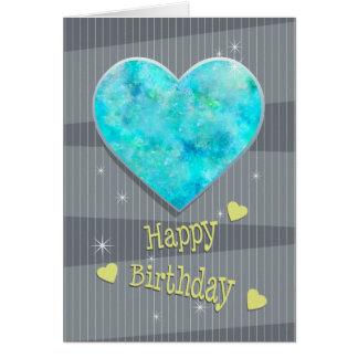 Tarjeta Cumpleaños del ópalo azul del corazón de