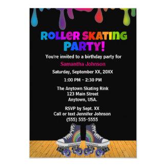 Tarjeta Cumpleaños del patinaje sobre ruedas del goteo de