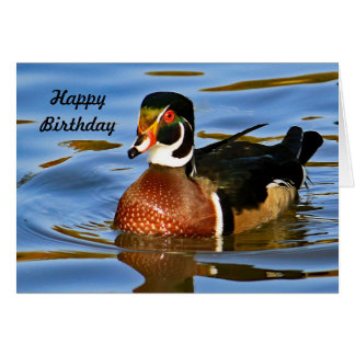 Tarjeta Cumpleaños del pato de madera 2221