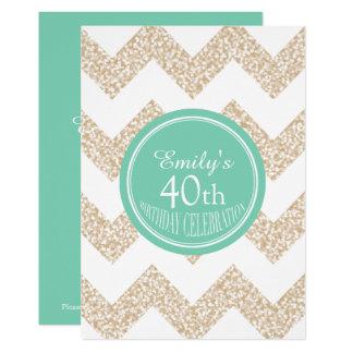 Tarjeta Cumpleaños del personalizado de Chevron el 40.o