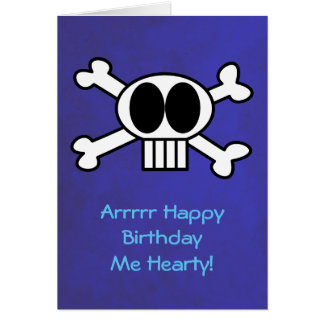 Tarjeta Cumpleaños del tema del cráneo y del pirata de la
