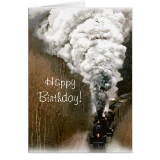 Tarjeta Cumpleaños del tren del motor de vapor