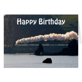 Tarjeta Cumpleaños del tren del vapor del vintage feliz