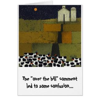Tarjeta cumpleaños divertido de la vaca chistoso