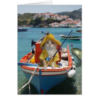 Tarjeta Cumpleaños divertido del gato para el pescador