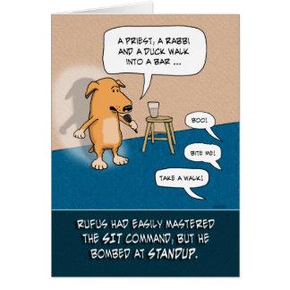Tarjeta Cumpleaños divertido: Perro cómico de pie