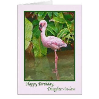 Tarjeta Cumpleaños, flamenco rosado, nuera