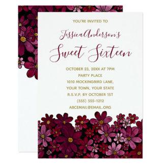 Tarjeta Cumpleaños floral del dulce 16 del oro del vino de