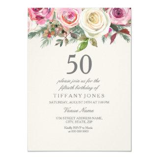 Tarjeta Cumpleaños floral elegante del rosa blanco el 50.o