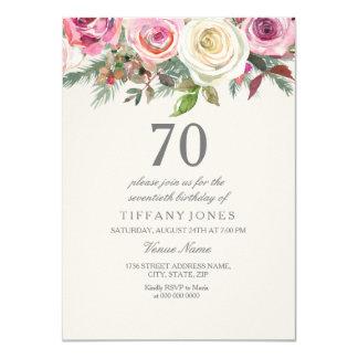 Tarjeta Cumpleaños floral elegante del rosa blanco el 70.o