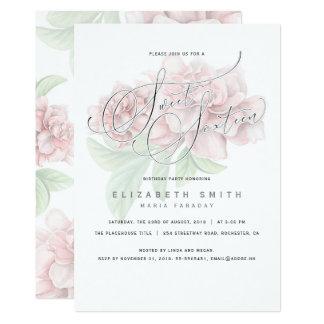 Tarjeta Cumpleaños floral rosado elegante del dulce 16 de