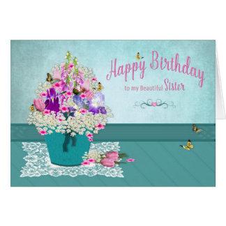 Tarjeta Cumpleaños - hermana - cubo de flores