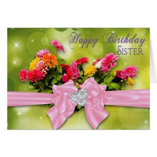 Tarjeta Cumpleaños - hermana - Zinnias