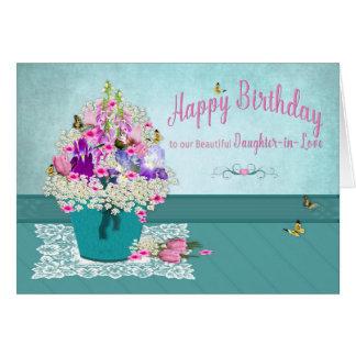 Tarjeta Cumpleaños - Hija-en-Amor - cubo de flores