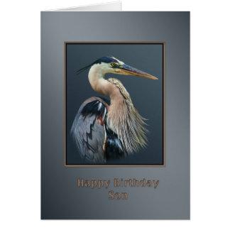 Tarjeta Cumpleaños, hijo, pájaro de la garza de gran azul,