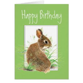 Tarjeta Cumpleaños, humor de la torta de zanahoria, conejo