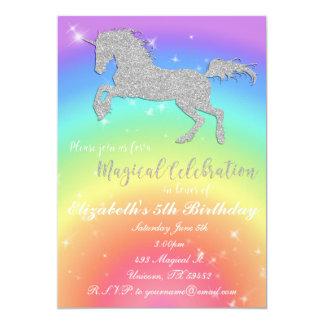 Tarjeta Cumpleaños Inviation del unicornio del brillo del