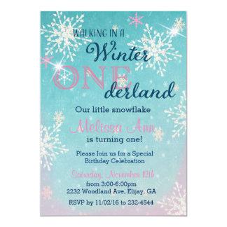 Tarjeta Cumpleaños Invitaiton de Onederland del invierno