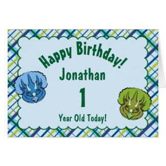 Tarjeta Cumpleaños lindo azul y verde del Triceratops del