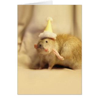 Tarjeta Cumpleaños lindo del ratón del gorra del fiesta