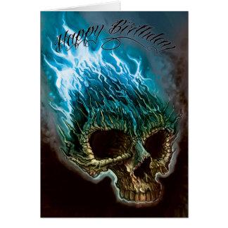 Tarjeta Cumpleaños llameante del cráneo