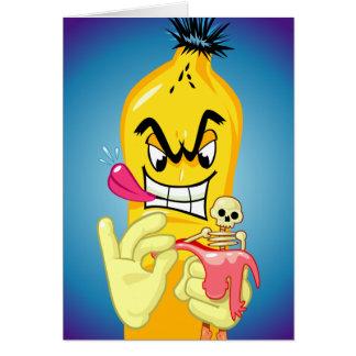 Tarjeta Cumpleaños malvado de la cáscara del plátano