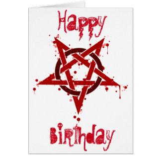 Tarjeta Cumpleaños manchado satánico rojo del Pentagram