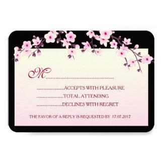 Tarjeta Cumpleaños negro rosado RSVP de las flores de