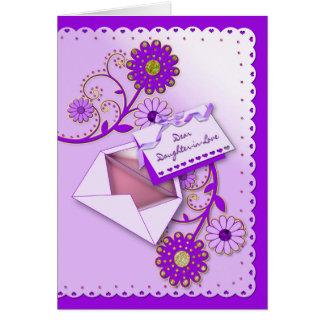 Tarjeta Cumpleaños - nuera - púrpura/flores/letra