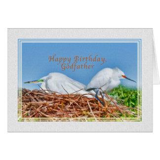 Tarjeta Cumpleaños, padrino, dos Egrets de la