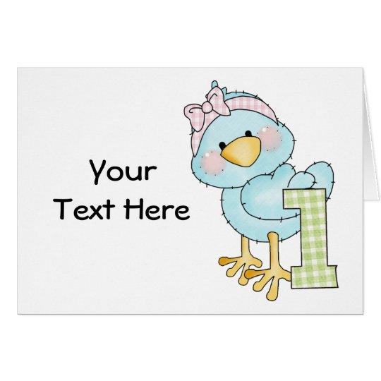Tarjeta Cumpleaños pájaro de 1 año (personalizable)