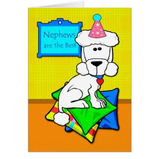 Tarjeta Cumpleaños para el sobrino, caniche blanco en las