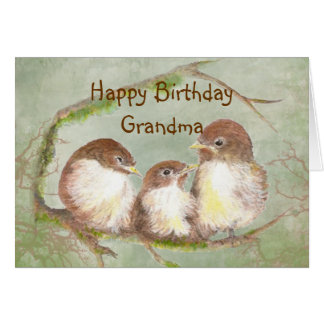 Tarjeta Cumpleaños para la familia de pájaro linda del