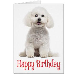 Tarjeta Cumpleaños rojo blanco del perro de perrito de
