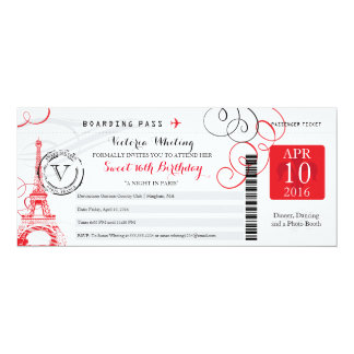 Tarjeta Cumpleaños rojo del dulce 16 de la torre Eiffel el