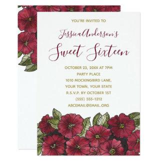 Tarjeta Cumpleaños rojo floral del dulce 16 del oro de la
