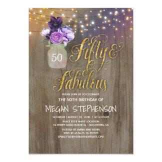Tarjeta Cumpleaños rústico 50 - la púrpura florece el oro