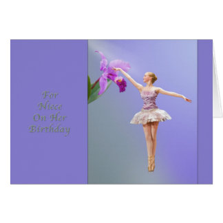 Tarjeta Cumpleaños, sobrina, bailarina, orquídea