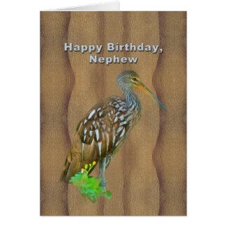 Tarjeta Cumpleaños, sobrino, pájaro del pantano de Limpkin