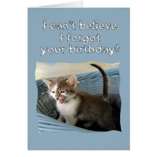 Tarjeta Cumpleaños tardío del gatito loco