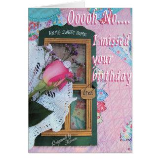 Tarjeta Cumpleaños tardío del vintage - modifiqúelo para