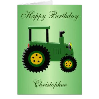 Tarjeta Cumpleaños verde personalizado del tractor