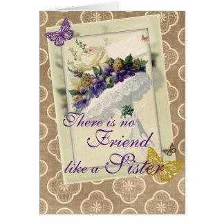 Tarjeta Cumpleaños violeta de la hermana y del amigo del