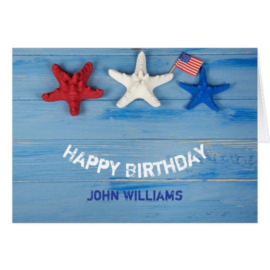 Tarjeta cumpleaños y 4to de Julio-estrellas de mar y de la