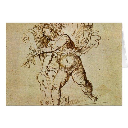 Tarjeta Cupid con un violín por Campagnola, arte