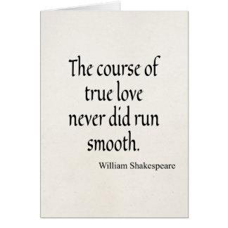 Tarjeta Curso de la cita de Shakespeare de liso corrida