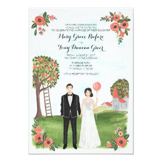 Tarjeta Custom Illustrated Couple Portrait Farm Wedding