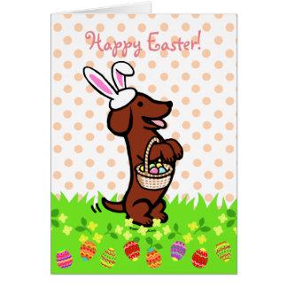 Tarjeta Dachshund cabelludo liso rojo del huevo de Pascua